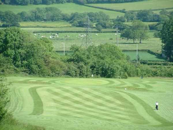 The scenic 9th hole from Coed-y-Mwstwr Golf Club