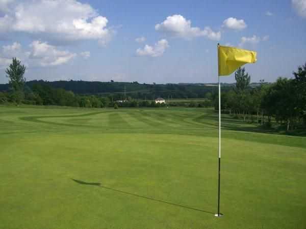 A look back down the 14th at Coed-y-Mwstwr Golf Club