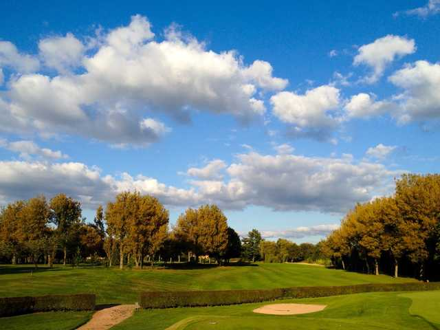 The 18th fairway and bunkers at Heaton Moor Golf Club