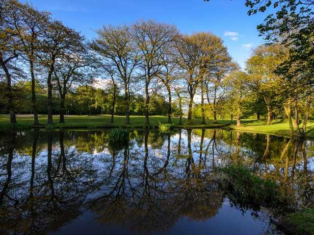 The beautiful pond at  Heaton Moor Golf Club