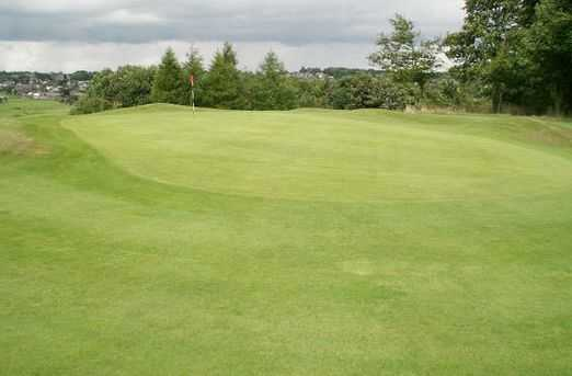 A look over the undulating 1st green at Crompton & Royton Golf Club