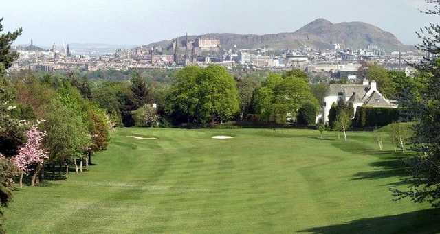 Murrayfield GC: Stretching 4th fairway overlooking Edinburgh