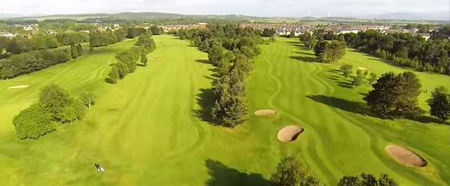 Aerial view of the fairways at Falkirk Tryst Golf Club