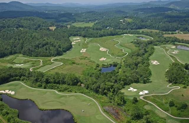 Aerial view of the 4th, 6th, 10th, 11th 12th and 13th greens at Brasstown Valley Resort