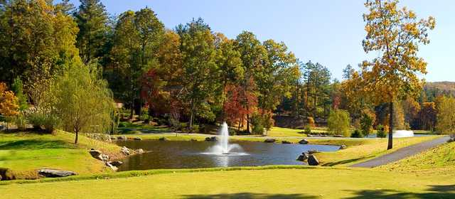 View from the 1st tee towards the pond and 10th hole at Cummings Cove Golf & Country Club.