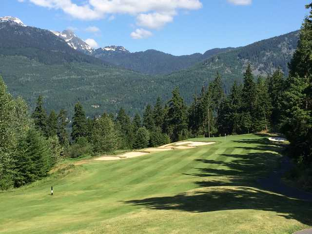 View from the par-4 7th at Fairmont Chateau Whistler GC