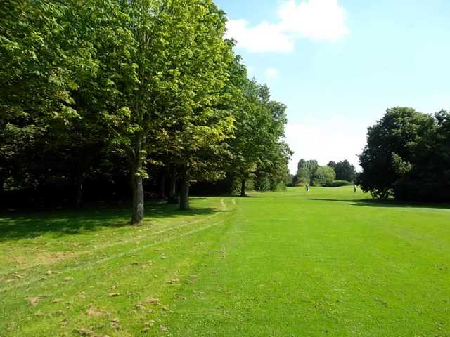 View back down the 7th green in the sunshine at Panshanger Golf Club