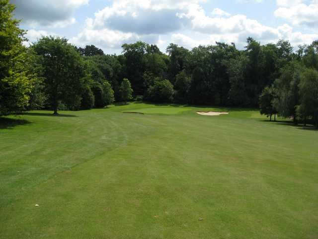 The challenging 15th green and greenside bunker at Bromsgrove Golf Course