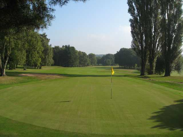View of the 9th green back down the fairway at Walmley Golf Club