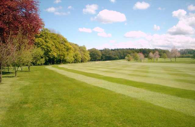 The lush fairway leading to the 1st green at Gogarburn Golf Club