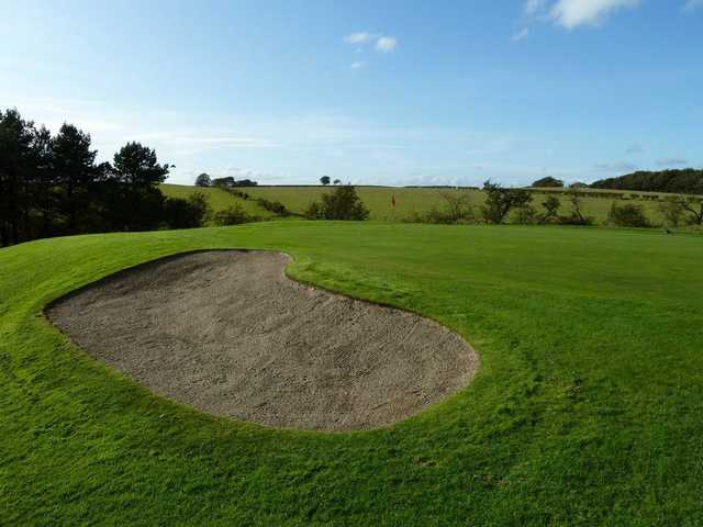 Large bunker protecting the 10th green at Langlands Golf Club