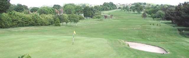 Aerial view over the well kept 17th at West Bradford Golf Club