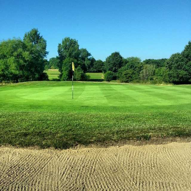 Superb view of the 11th green and bunker at Maylands Golf Club