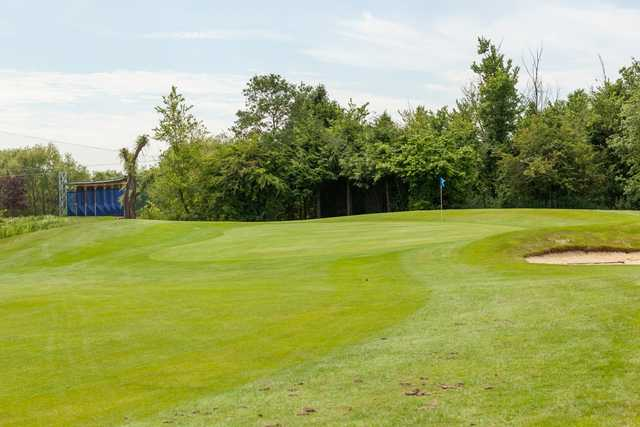 14th green with views of the driving range at Cheshunt Park Golf Centre