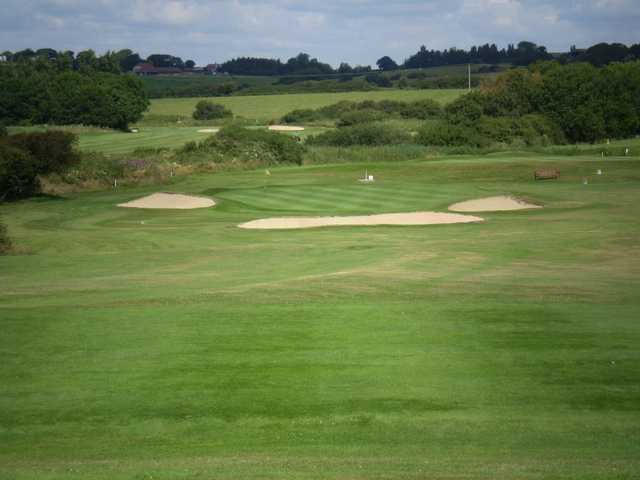 Heavily protected green at Cooden Beach Golf Club.