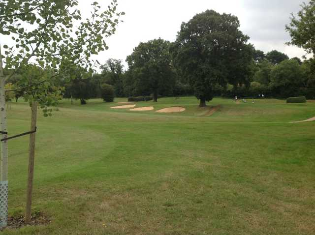 The challenging 1st green at Grims Dyke Golf Club