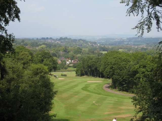 A scenic view looking down on the 17th and 18th holes at Greenway Hall Golf Club