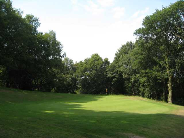 A view of the 1st green and surrounding trees at Greenway Hall Golf Club