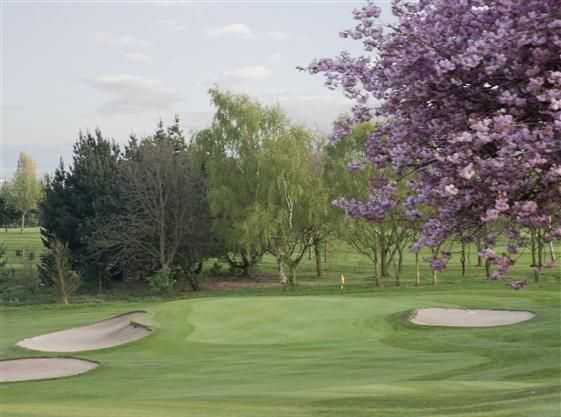 A view of the 1st green and surrounds at Mickleover GC