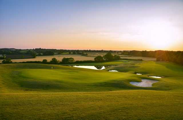Stunning views of the 14th hole in the sunshine at Chippenham Golf Club
