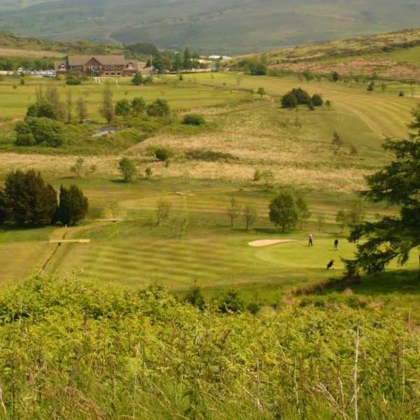 View towards the clubhouse across the course at Maesteg Golf Club