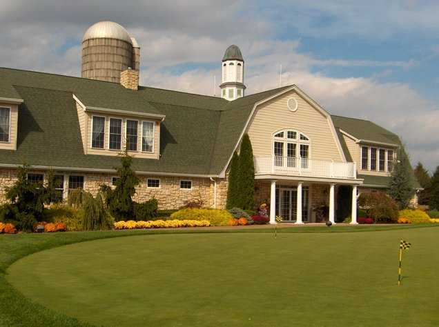 A view of the clubhouse at Colts Neck Golf Club