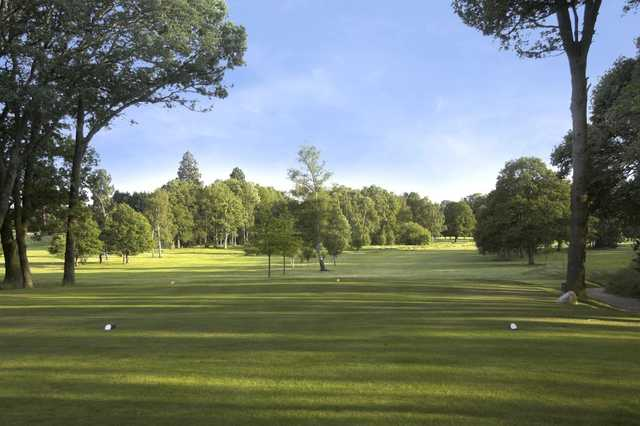 A look down the 18th tee as seen at Hartley Wintney Golf Club.
