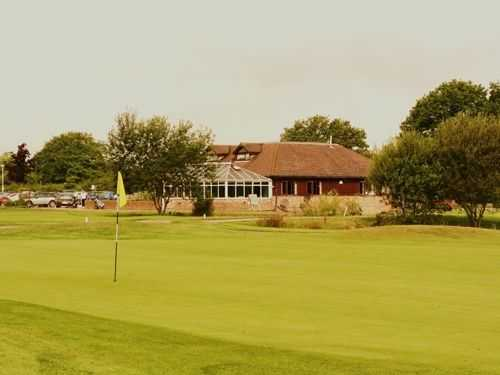 A look back at the clubhouse at Horne Park Golf Club over the 9th green.