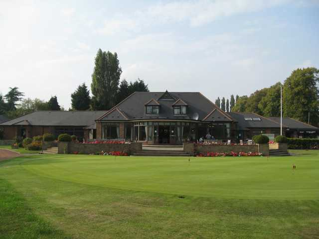 The beautiful clubhouse and flowers at Walsall Golf Club