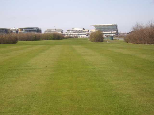View from the 1st tee at Aintree with the racecourse in the distance