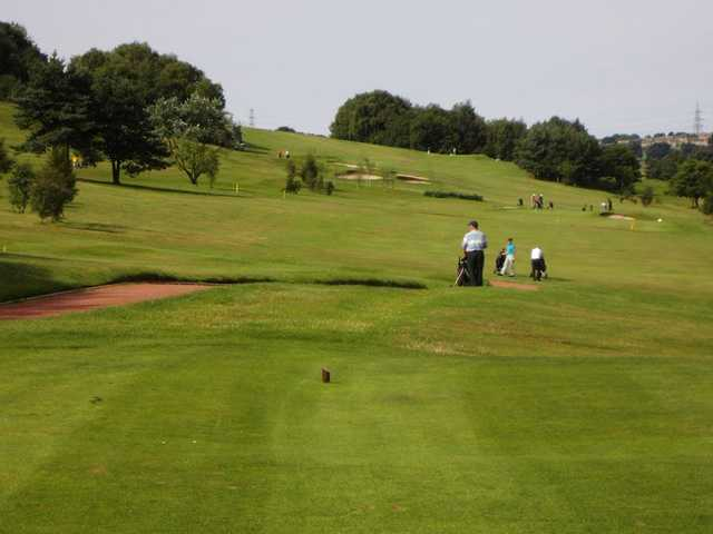 Teeing off at the 10th at Halifax Bradley Hall
