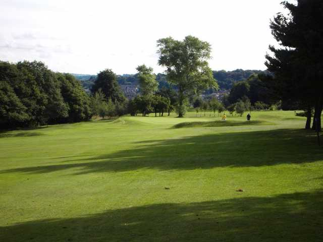 The fairway leading to the elevated 6th green at Halifax Bradley Hall