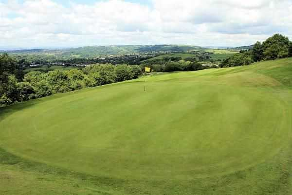 The 8th hole, The Banks, at Mellor is a small protected green requiring an accurate approach shot