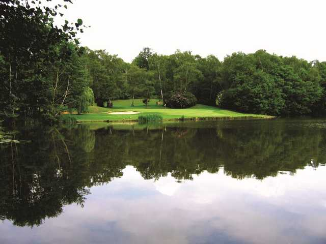 The view over the lake to the 17th green as seen at Silvermere Golf and Leisure.