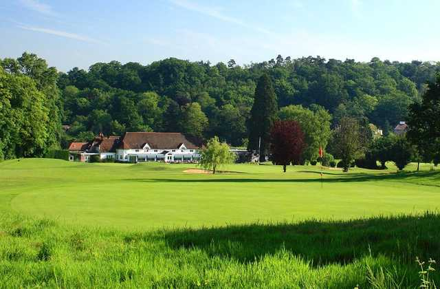 A view of the Croham Hurst clubhouse from the 11th green