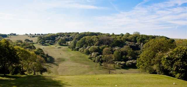 The 3rd green as seen at Pyecombe Golf Course