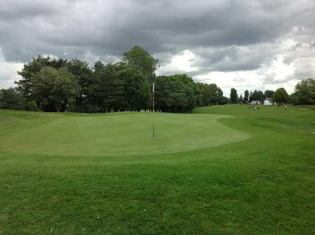 A view of the 1st green at Filton Golf Club