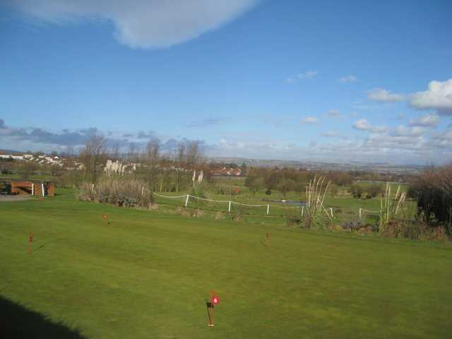 Scenic view of the putting green and surrounding countryside at  Great Lever and Farnworth Golf Club
