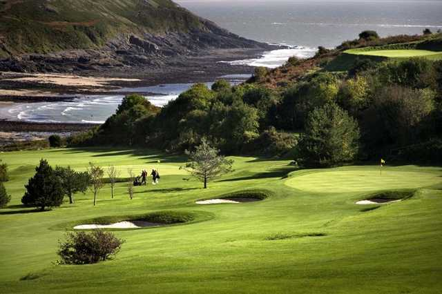 The elevated tees at Langland Bay Golf Club