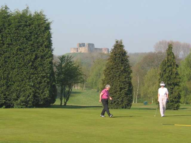 Hole 2 with Stafford Castle in the backdrop