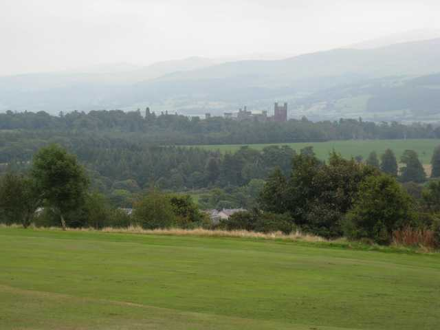 A view of the golf course overlooking Penryn Castle at St Deiniol Golf Course