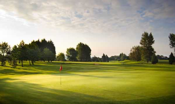 A view of the 17th fairway from the green