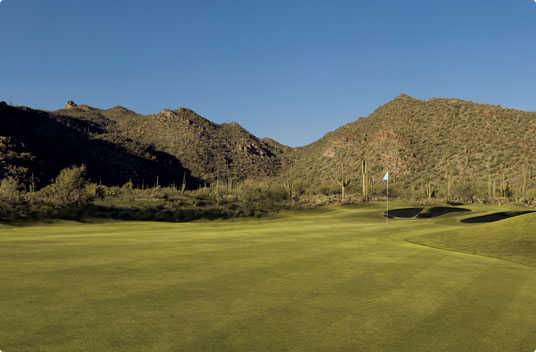 A view of a hole at Wild Burro from The Golf Club at Dove Mountain