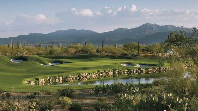 View of the 3rd hole over the water from Saguaro at The Golf Club at Dove Mountain