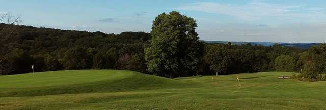 View of a green and a footgolf hole at Cabin Greens Golf Course