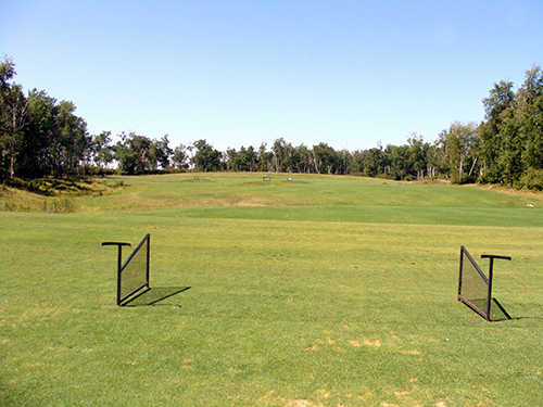 A view from the driving range tees at Lake of the Sandhills Golf Club
