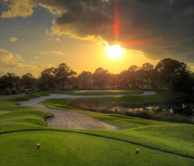Sunset view of the 3rd hole at Hunter's Creek Golf Club