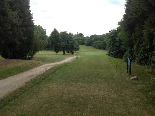 A look down the tough first hole at Cocks Moors Woods Golf Club