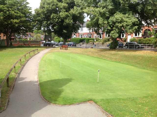 The well manicured putting green at Harborne Church Farm Golf Club
