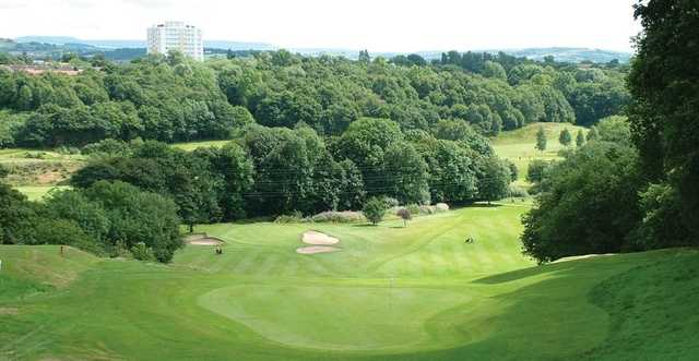 View of the 18th and 6th greens at Reddish Vale Golf Club